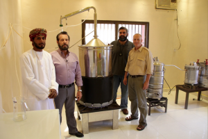 Mr. Abdullah Hamdan, Gary, Dr. Suhail, & Cole Woolley at frankincense distillery