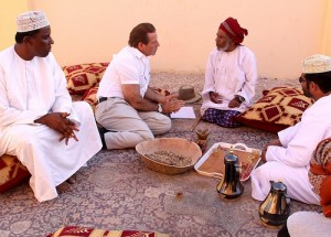 Gary Young speaking with Musallam, one of the last remaining caravaners in Salalah, Oman