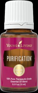 A bottle of Young Living's Purification essential oil blend, which includes Lavandin.