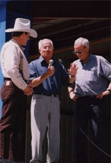 Gary Young with Marcel and Jean-Noel at Young Living farm in Mona, UT