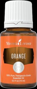 a bottle of Young Living's Orange Essential Oil