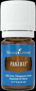 A bottle of Young Living's PanAway essential oil blend.