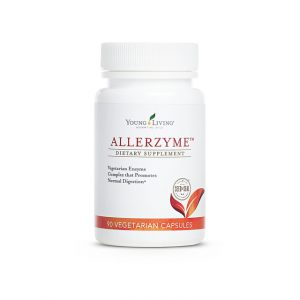 a bottle of Young Living's Allerzyme enzyme supplement.