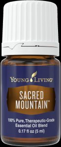 a bottle of Young Living Sacred Mountain essential oil blend