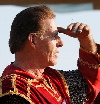 Gary Young looking towards the sun at jousting tournament