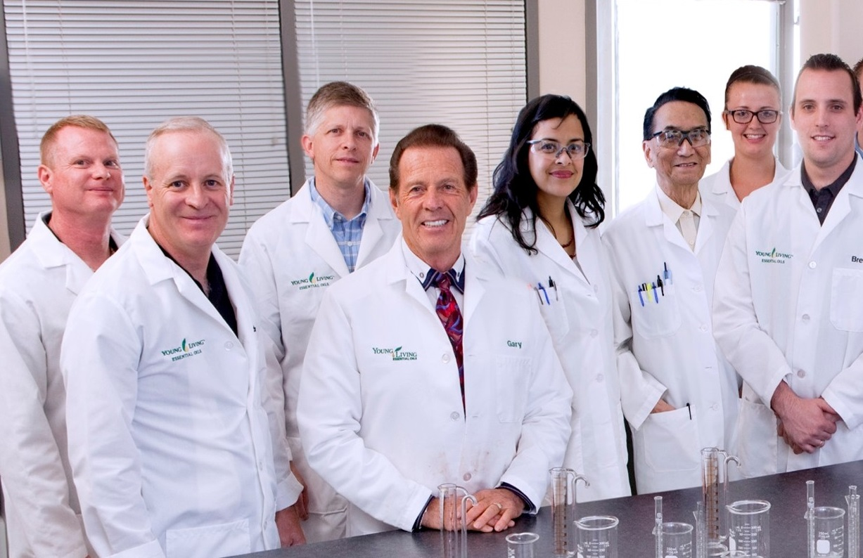 Gary Young's Lab Team from left to right: Richard Carlson, PhD; Cole Woolley, PhD; Jamie Davis, mechanical engineer; D. Gary Young, ND; Marilyn Contreras-Pinegar, BS; Chin Chiang, PhD; Jerika Tilby, lab coordinator/Tech I; Brett Smith, BS.
