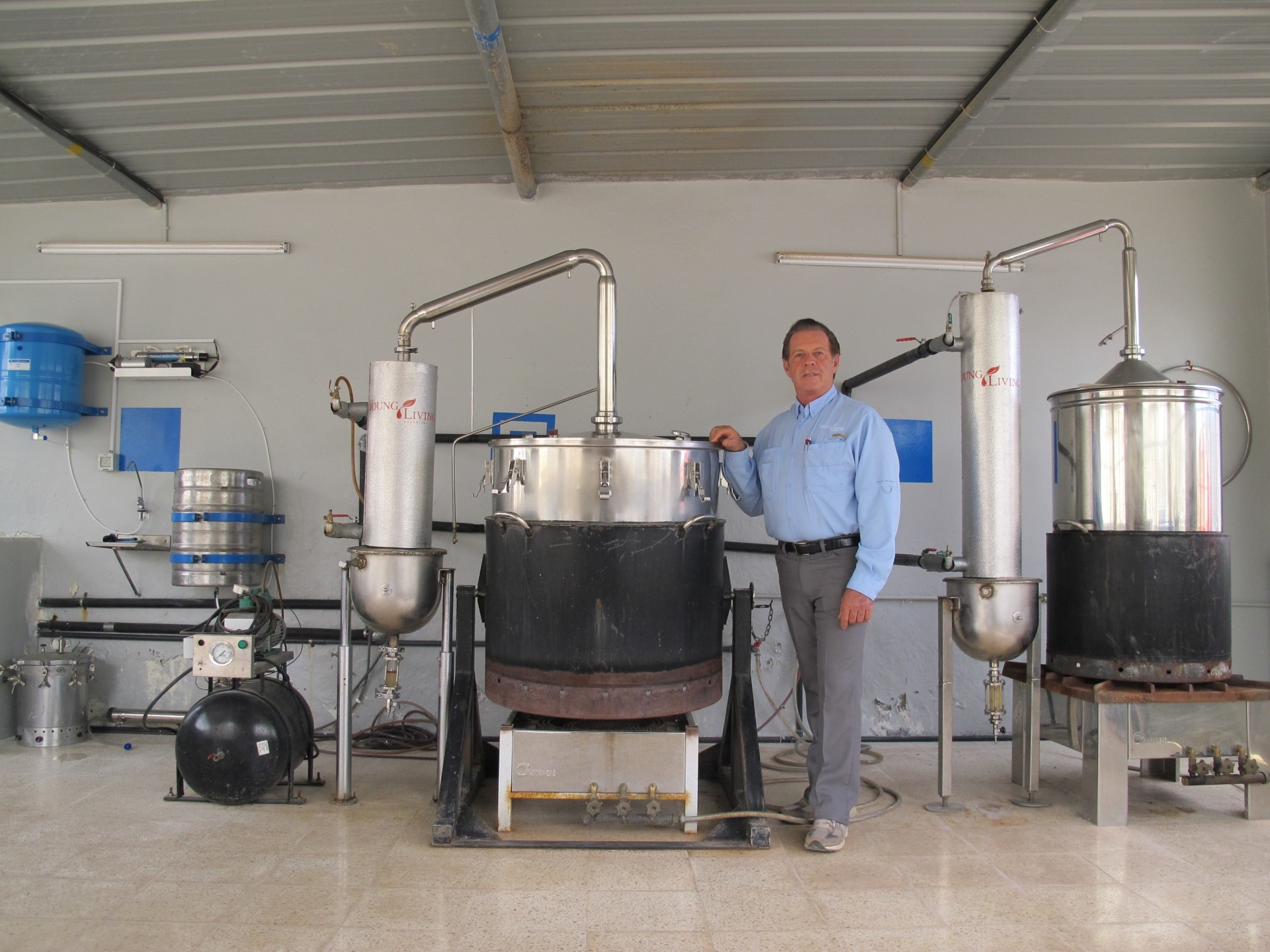 Gary in the Salalah, Oman, distillery where Sacred Frankincense and Myrrh are distilled. There is now an addition of one more 500-liter stainless steel extraction chamber , making three such chambers in all.