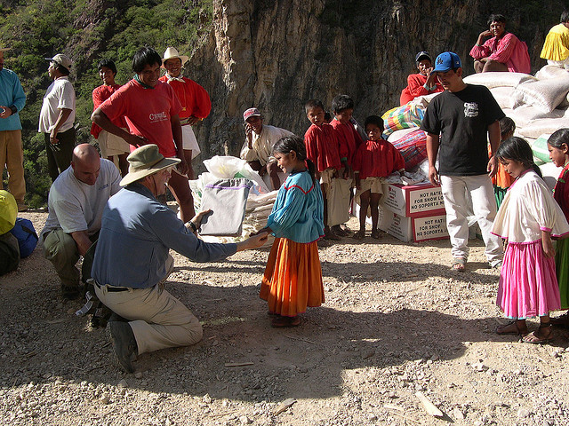 In this photo Gary is sharing gifts with the Tarahumara children.