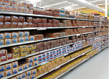 The bread aisle can be as long as 68 feet and 99.99 percent of it is made of hybrid dwarf wheat.
