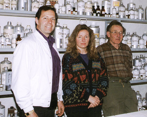 Gary is shown with Mr. and Mrs. Henri Viaud in his French apothecary. Henri Viaud is considered the Father of French Distillation.