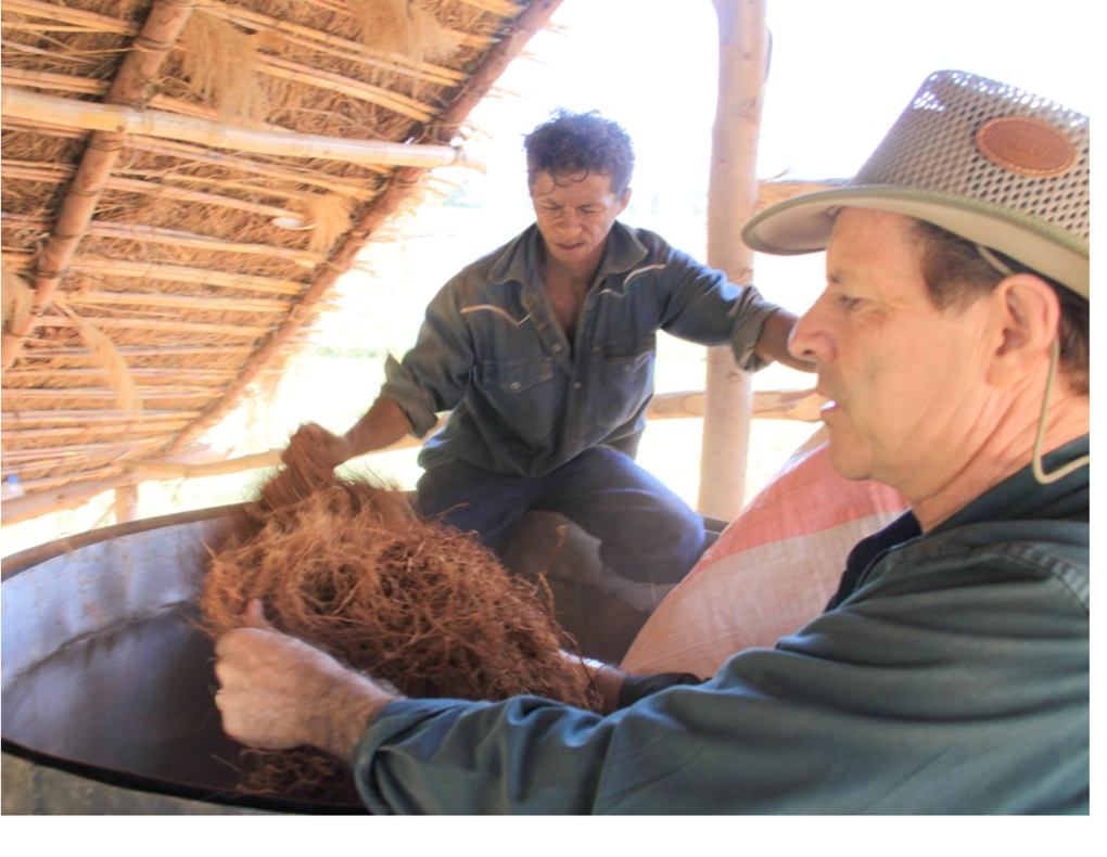 After averting a dangerous accident, Gary instructed these vetiver distillers in Madagascar on proper prepping of vetiver before distillation.