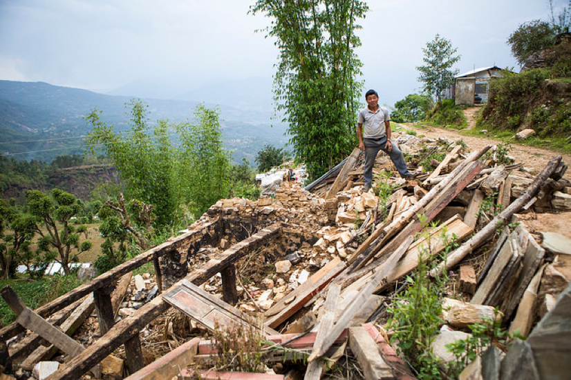 Hillsides gave way during the Nepal earthquakes leaving piles of rubble from demolished homes.