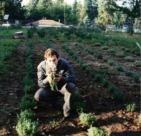 Gary in the one-quarter acre plot in Spokane, Washington with his first crop of lavender.