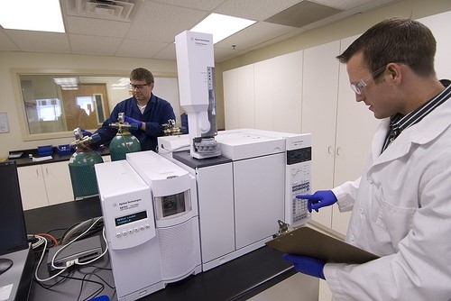 A lab technician checks the gas chromatograph/mass spectrometer instruments in the Spanish Fork, Utah, Young Living laboratory.