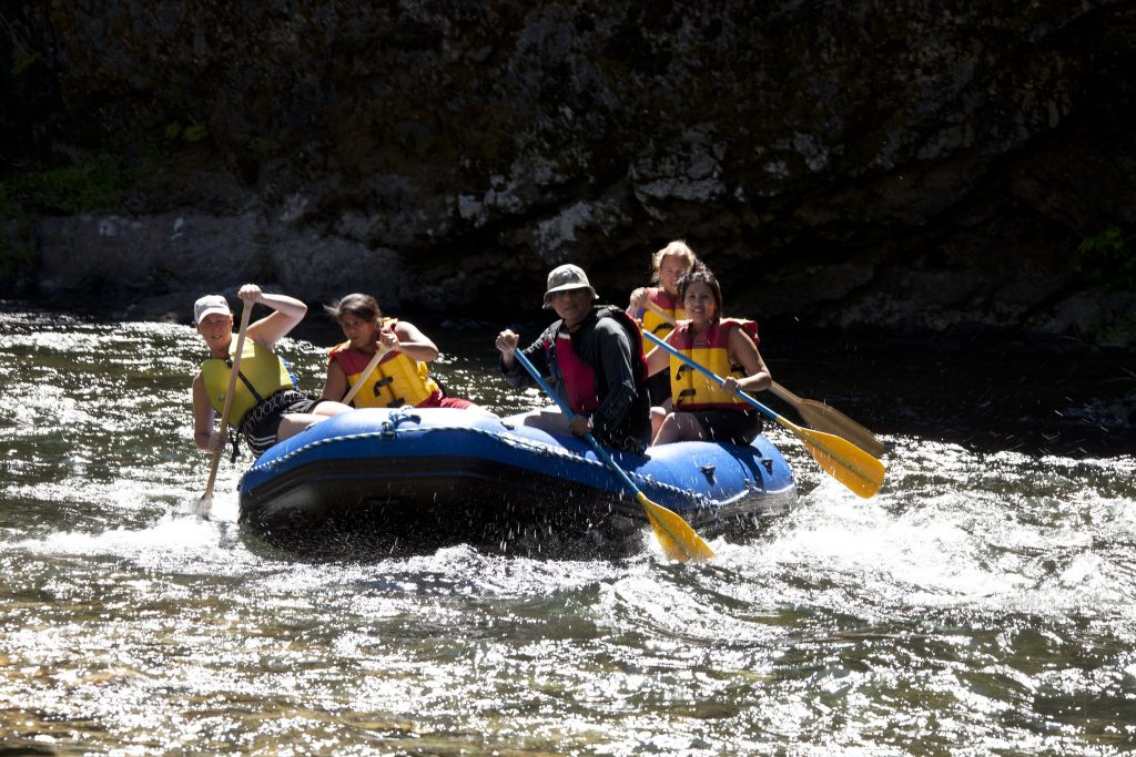 Young Living members river rafting